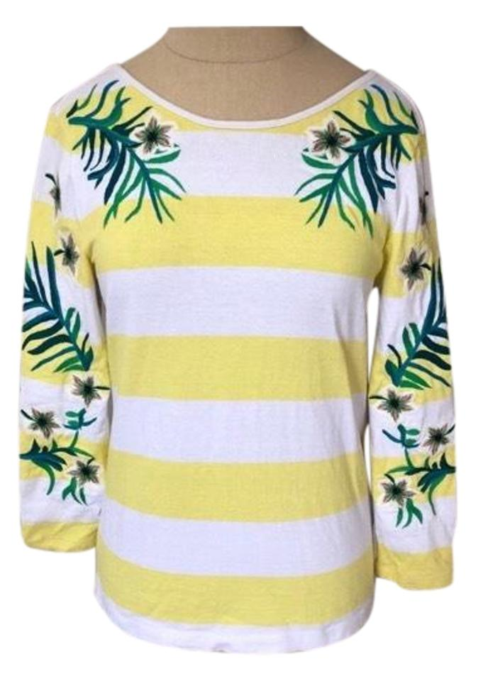 af61799124 Juicy Couture Yellow and White Striped Floral Stitched Low Back Euc Tee  Shirt. Size  4 (S)