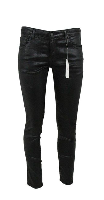 Item - Black Coated Skinny Faux Leather Pants Jeggings Size 8 (M, 29, 30)