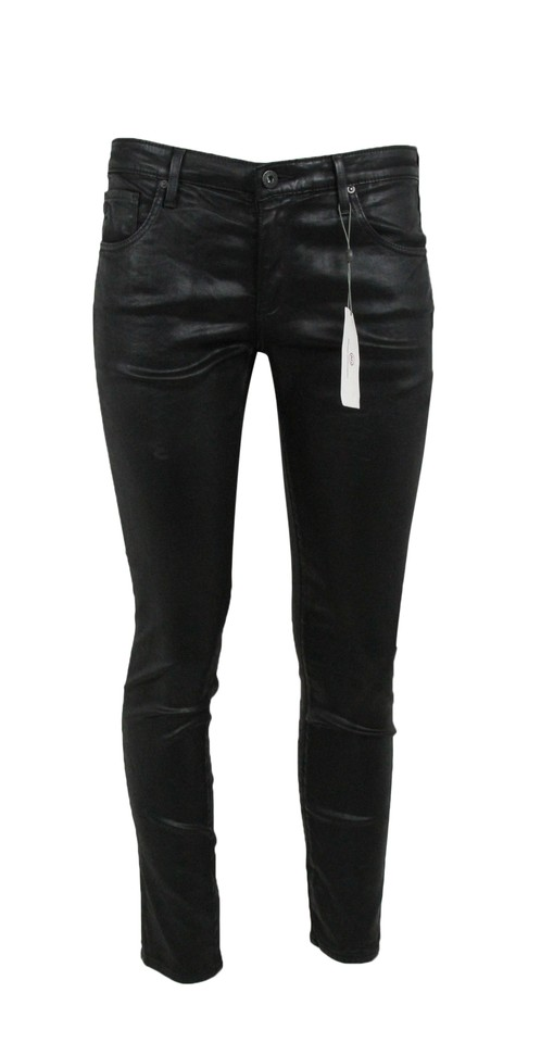 737229b530d52e AG Adriano Goldschmied Black Coated Skinny Faux Leather Pants Jeggings
