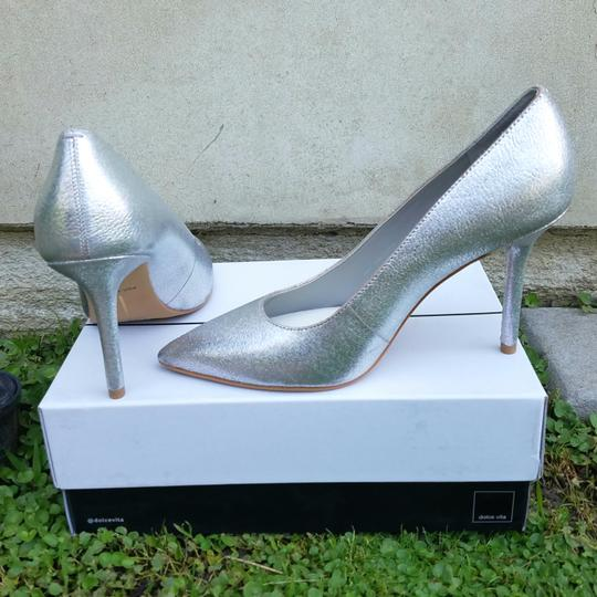 Dolce Vita Silver Pebbled Leather Mules Image 5