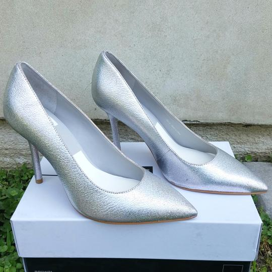 Dolce Vita Silver Pebbled Leather Mules Image 6