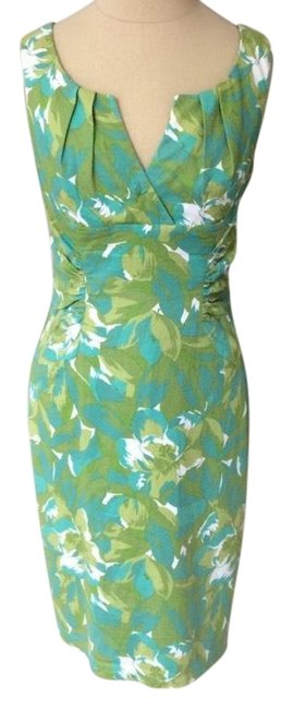 Preload https://img-static.tradesy.com/item/23692539/adrianna-papell-green-and-blue-pleated-floral-cotton-euc-workoffice-dress-size-8-m-0-1-650-650.jpg