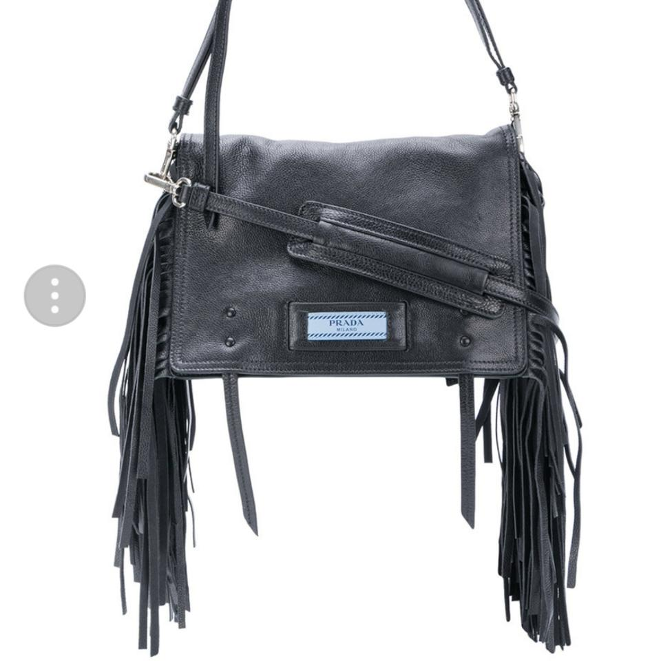 e9f87b6c8da0 Prada Etiquette 2018 Collection Fringed Black Leather Shoulder Bag ...