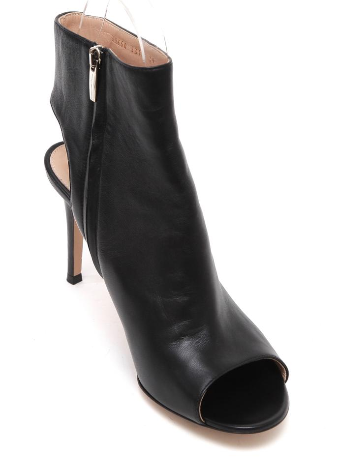 Zipper Heel Boots Booties Silver Peep Rossi Toe Black Gianvito Leather Ankle xwzqgq08