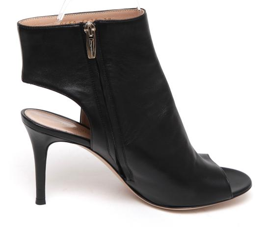 Gianvito Rossi Ankle Peep Toe Leather Black Boots Image 1