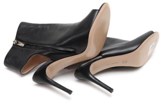 Gianvito Rossi Ankle Peep Toe Leather Black Boots Image 10