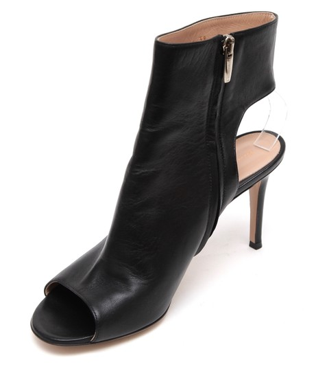 Gianvito Rossi Ankle Peep Toe Leather Black Boots Image 2