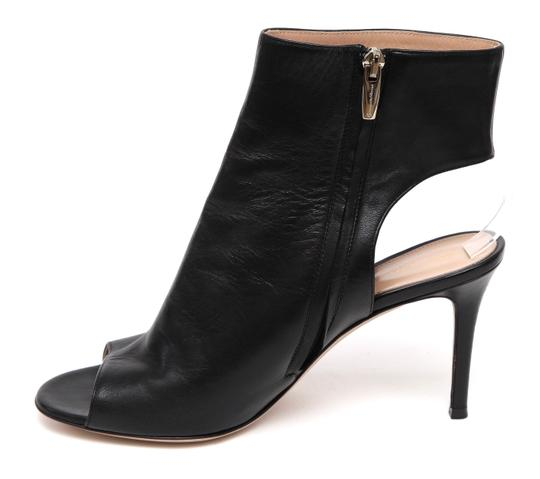 Gianvito Rossi Ankle Peep Toe Leather Black Boots Image 3