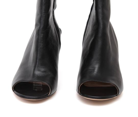 Gianvito Rossi Ankle Peep Toe Leather Black Boots Image 5
