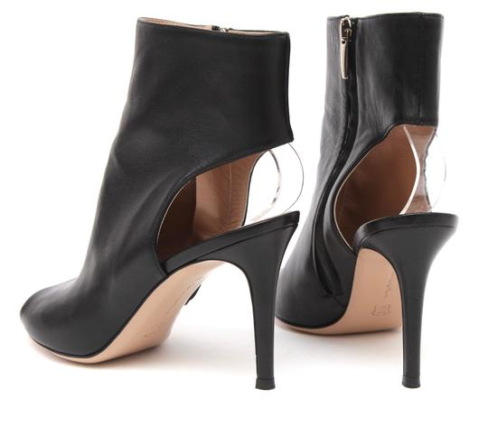 Gianvito Rossi Ankle Peep Toe Leather Black Boots Image 7