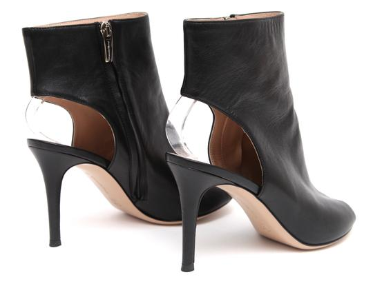 Gianvito Rossi Ankle Peep Toe Leather Black Boots Image 8