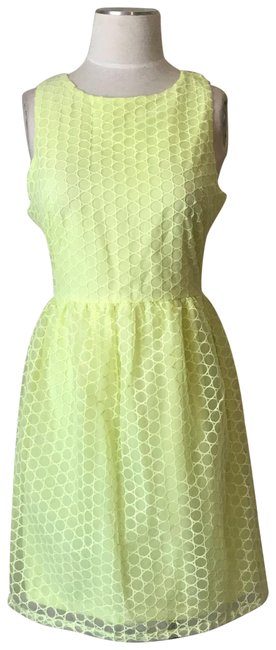 Preload https://img-static.tradesy.com/item/23692625/francesca-s-yellow-embroidered-circle-sleeveless-flared-short-cocktail-dress-size-8-m-0-1-650-650.jpg