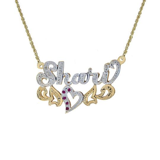 Preload https://img-static.tradesy.com/item/23692654/avital-and-co-jewelry-14k-two-tone-gold-010-carat-diamond-010-carat-rubies-shari-nameplate-pendant-t-0-0-540-540.jpg