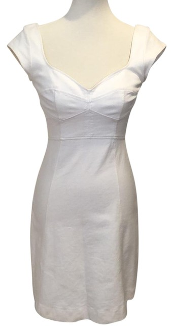 Item - Cream Ivory Stretch Bodycon Sleeve Or Casual Short Cocktail Dress Size 4 (S)