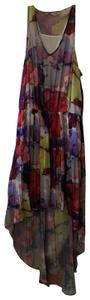multicolored Maxi Dress by Guess Hi Lo Sundress Sheer Floral Elastic