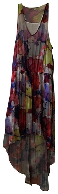multicolored Maxi Dress by Guess Hi Lo Sundress Sheer Floral Elastic Image 0