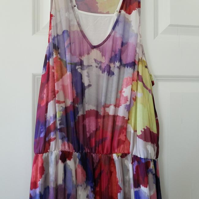 multicolored Maxi Dress by Guess Hi Lo Sundress Sheer Floral Elastic Image 3