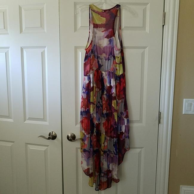 multicolored Maxi Dress by Guess Hi Lo Sundress Sheer Floral Elastic Image 4