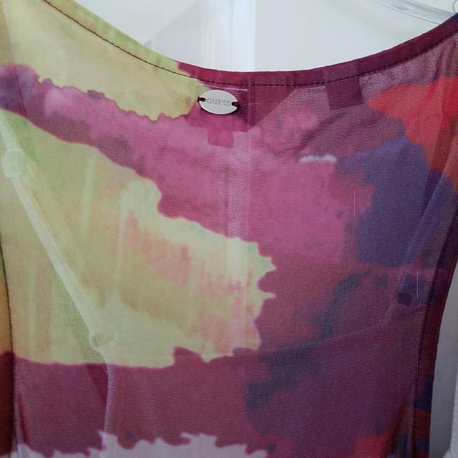 multicolored Maxi Dress by Guess Hi Lo Sundress Sheer Floral Elastic Image 6