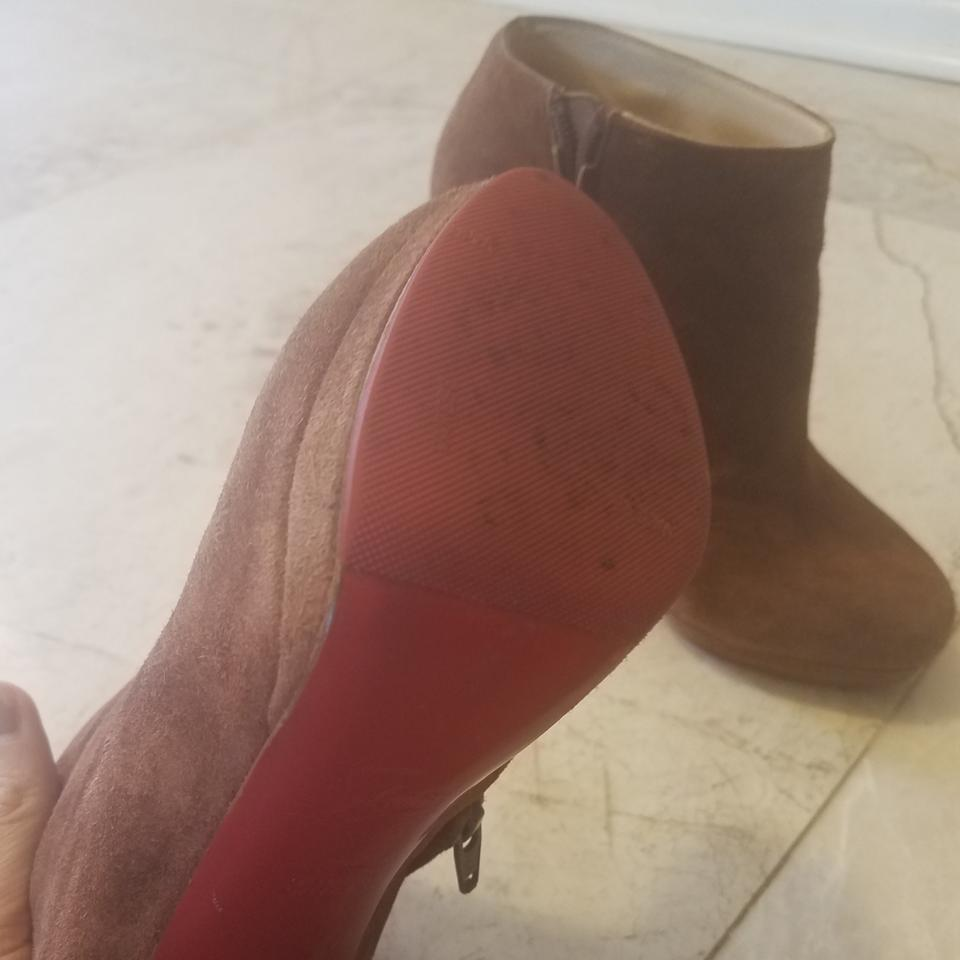 Booties and Suede Brown Gold Boots Christian Louboutin Rock xp0nFIUq
