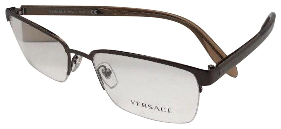 cab040776dd Versace New VERSACE Eyeglasses VE 1241 1269 54-18 145 Semi Rimless Brown  Frame Image ...