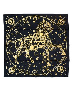 Hermès Hermes Black & Gold Cheval Fusion Silk 90cm Scarf with Box, Shopping B