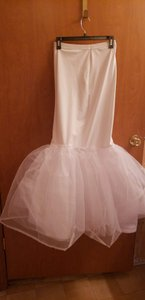 David's Bridal White Trumpet Slip Feminine Wedding Dress Size 12 (L)