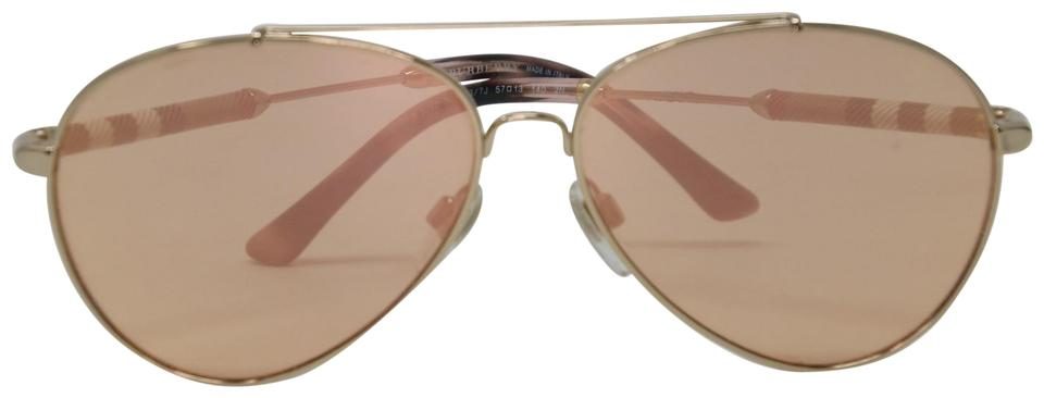 9ebe5f3252f8 Burberry Rose Gold Unisex Aviator Mirrored Lenses with Metal Frame  Sunglasses