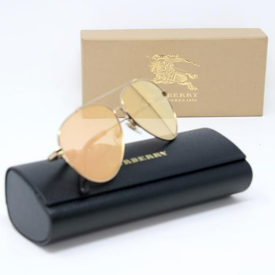 Burberry Unisex Aviator Mirrored Lenses with Gold Metal Frame Sunglasses Image 1