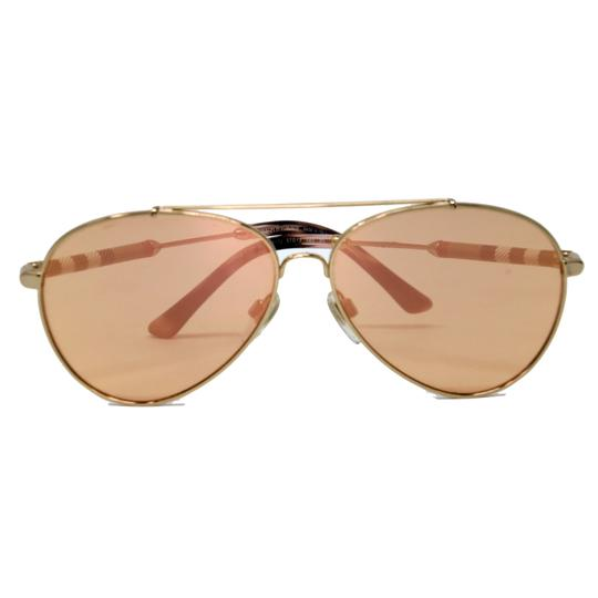 Burberry Unisex Aviator Mirrored Lenses with Gold Metal Frame Sunglasses Image 2