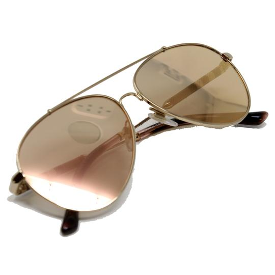 Burberry Unisex Aviator Mirrored Lenses with Gold Metal Frame Sunglasses Image 3