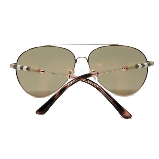 Burberry Unisex Aviator Mirrored Lenses with Gold Metal Frame Sunglasses Image 5