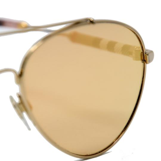 Burberry Unisex Aviator Mirrored Lenses with Gold Metal Frame Sunglasses Image 6