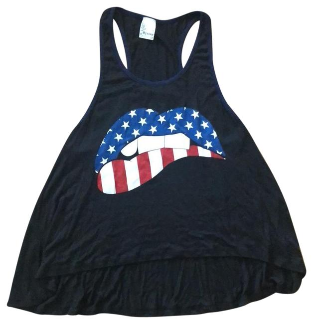Preload https://img-static.tradesy.com/item/23693019/black-with-blue-trim-patriotic-mouth-tank-topcami-size-4-s-0-1-650-650.jpg