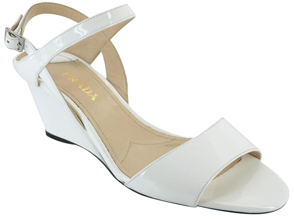 Strap 5approx Prada Ankle Size Sandals 40 White Patent Wedge Eu QhtsrdC