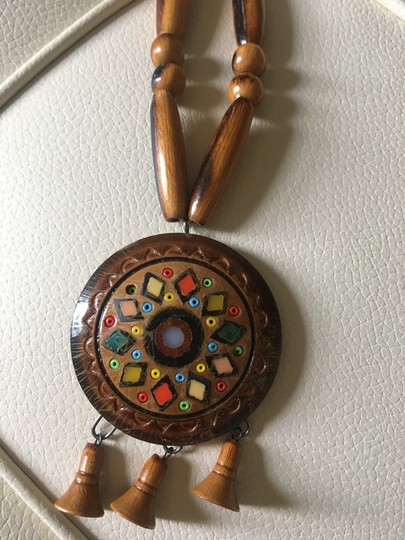 Tory Burch Statement Beaded Wooden Necklace Image 2