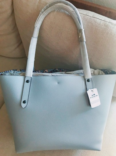 Coach Leather Tote in Ice Blue/Black Copper Image 1