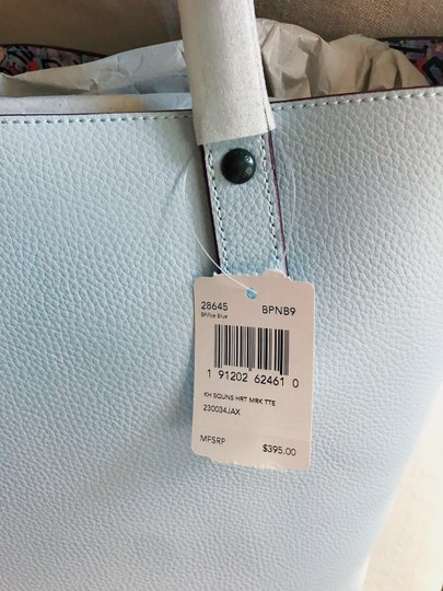 Coach Leather Tote in Ice Blue/Black Copper Image 2