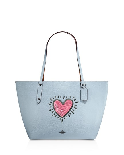 Coach Leather Tote in Ice Blue/Black Copper Image 3