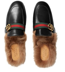 40181c071f2a Gucci Mens Princetown Fur Lined Leather Slipper with Double G Sandals