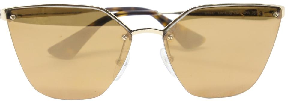 9dee47c180 Prada Multicolor Classic Cat-eye Gold Wire Frame Mirrored Lens Sunglasses