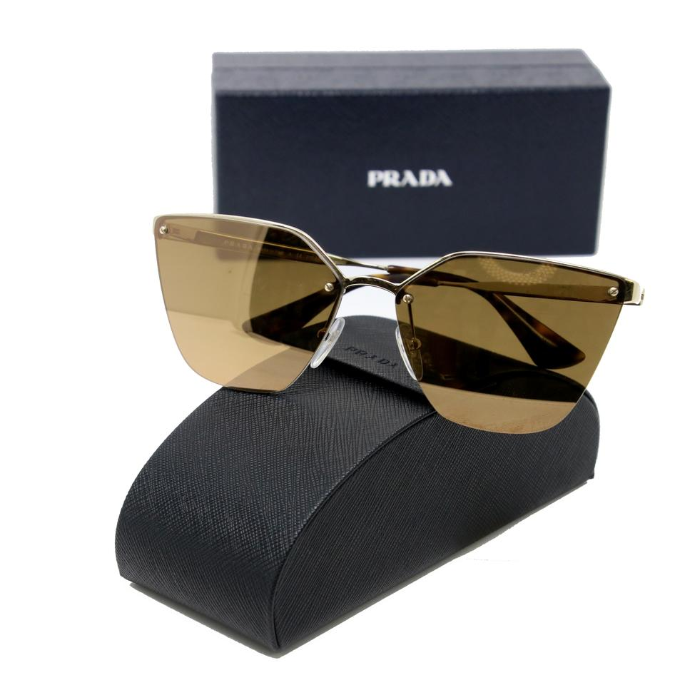 b67ab8a7bc Prada Classic Cat-Eye Gold Wire Frame Mirrored Lens Sunglasses Image 9.  12345678910