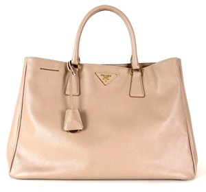 Prada Saffiano Saffiano Leather Lux Tote in Beige