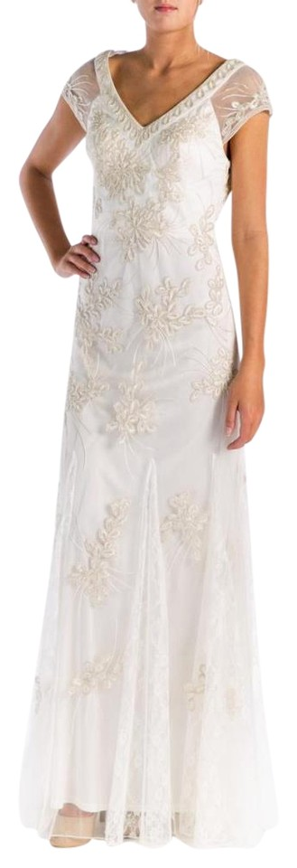 Sue Wong Ivory Full Length Semi Formal Prom Wedding Gown Formal