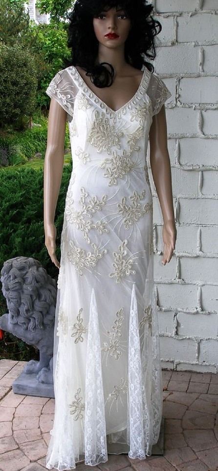 Sue Wong Ivory Full Length Semi-formal Prom Wedding Gown Formal ...