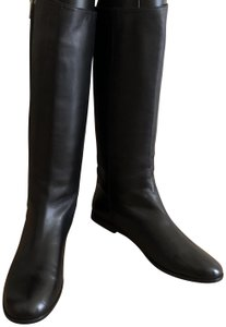 Saint Laurent Knee High Leather Yves Soft Black Boots