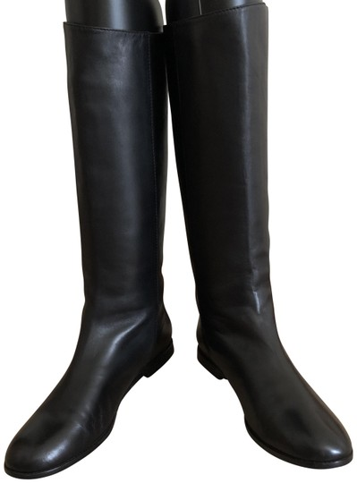 Saint Laurent Knee High Leather Yves Soft Black Boots Image 1