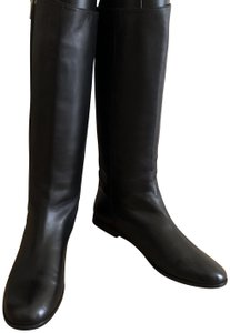 Saint Laurent Black Soft Leather Yves Very Chic, Knee-High Boots