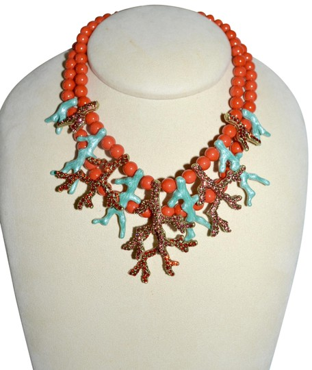 Preload https://img-static.tradesy.com/item/23693296/heidi-daus-bronzetone-ravishing-reef-coral-enamel-w-crystal-statement-necklace-0-1-540-540.jpg