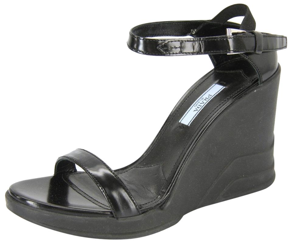 ac25b344832a7c Prada Black Sport Ankle Strappy Heel Sandals Wedges Size EU 37.5 ...